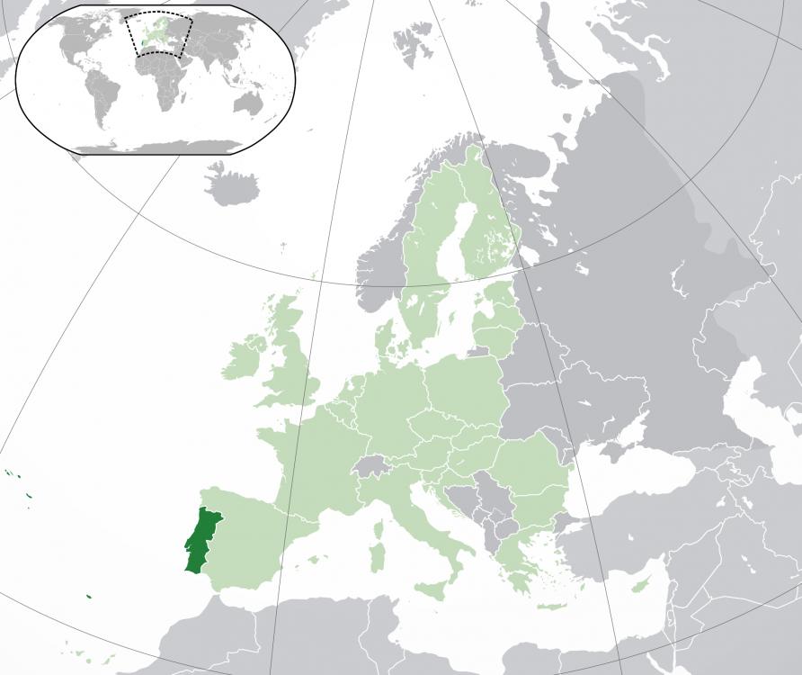 Portugalia pe harta Europei şi a lumii.