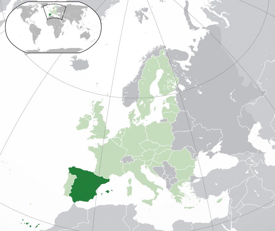 Spania pe harta Europei şi a lumii.