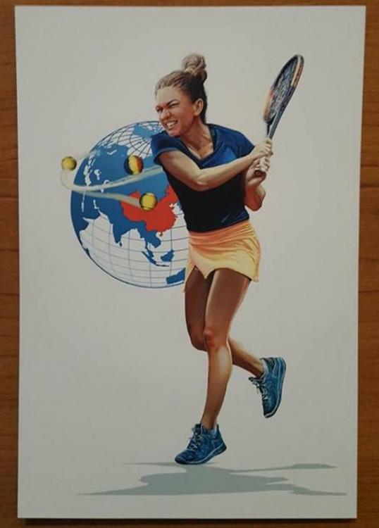 Jucătoare de tenis română pe carte poștală
