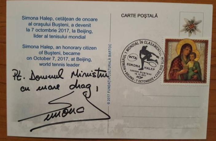 Jucătoare de tenis română pe carte poștală 2017