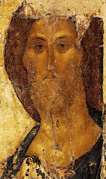 Iisus Hristos, icoană, pictură de Andrei Rubliov, detaliu, chip