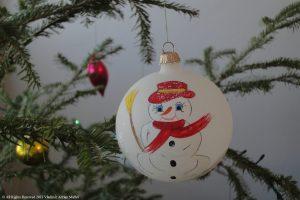 Glob cu om de zăpadă pictat manual, brad, Crăciun, Naşterea Domnului